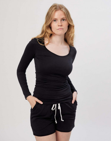 Pitkähihainen t-paita ekopuuvilla-elastaania musta