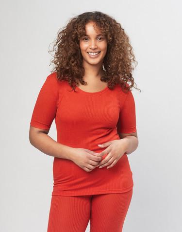 Naisten t-paita ribbineulottua merinovillaa - Punainen