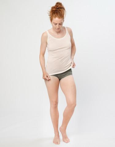 Naisten merinovillaiset midi-alushousut ribbineulosta oliivinvihreä