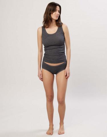 Naisten merinovillaiset midi-alushousut ribbineulosta tumma harmaameleerattu