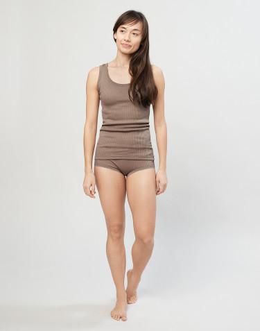 Naisten merinovillaiset midi-alushousut ribbineulosta hiekka