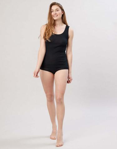 Naisten merinovillaiset midi-alushousut ribbineulosta musta