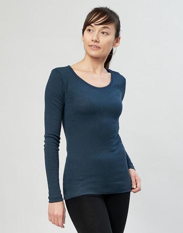 Naisten paita ribbineulosta Tumma petrooli