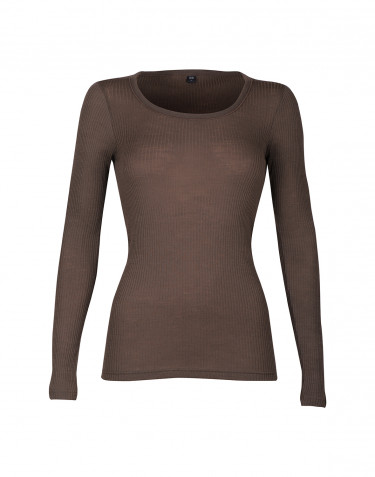 Naisten paita ribbineulosta punaruskea
