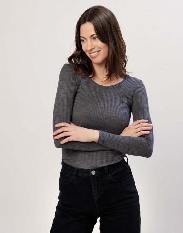 Naisten paita ribbineulosta tumma harmaameleerattu
