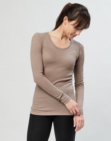 Naisten paita ribbineulosta hiekka