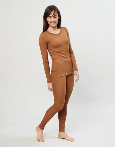 Naisten leggingsit ribbineulottua merinovillaa toffee