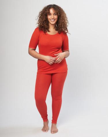 Naisten leggingsit ribbineulottua merinovillaa - punainen