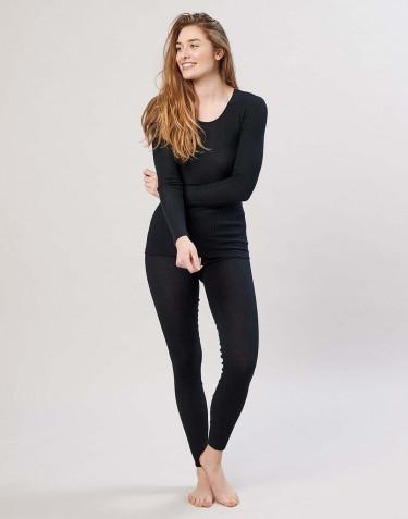 Naisten leggingsit ribbineulottua merinovillaa
