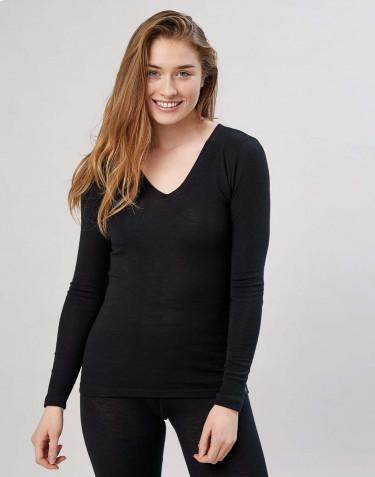 Pitkähihainen paita v-kaula-aukolla musta