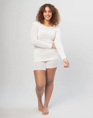 Naisten shortsipituiset merinovilla-alushousut leveällä resorilla luonnonvärinen
