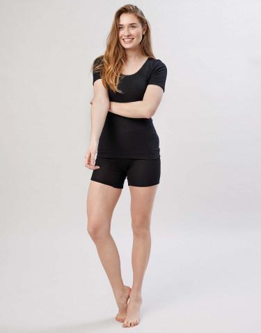 Naisten shortsipituiset merinovilla-alushousut leveällä resorilla musta