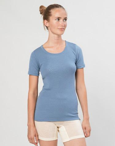 Naisten t-paita merinovillaa sininen