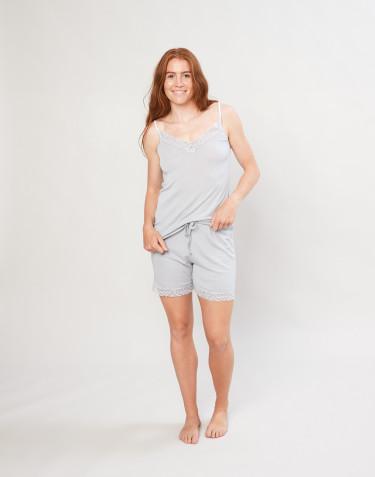 Naisten pyjamashortsit ekologista villasilkkiä harmaa