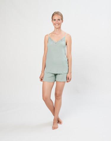 Naisten pyjamasshortsit ekologista villasilkkiä pastellinvihreä