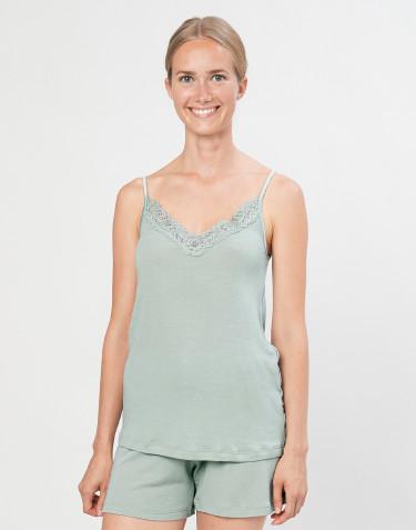 Naisten pyjamapaita, jossa pitsiä, ekologista villasilkkiä pastellinvihreä