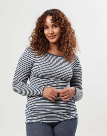 Naisten pitkähihainen paita merinovillasilkkiä