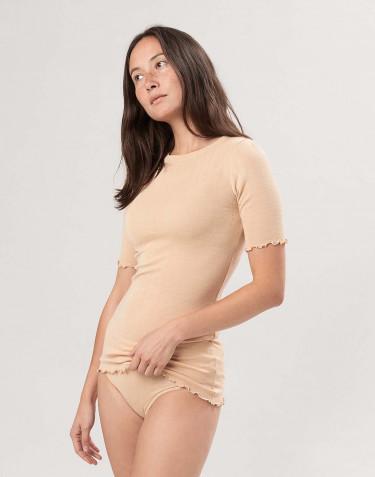 Naisten pointelle-t-paita merinovillasilkkiä