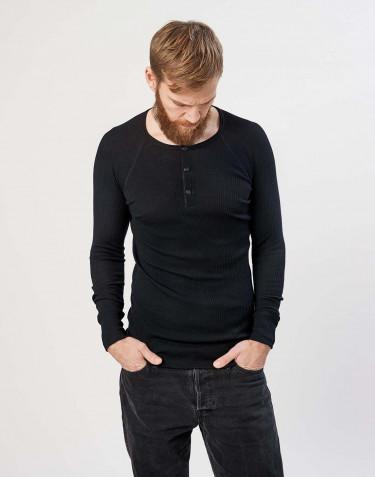 Miesten merinovillainen paita ribbineulosta musta