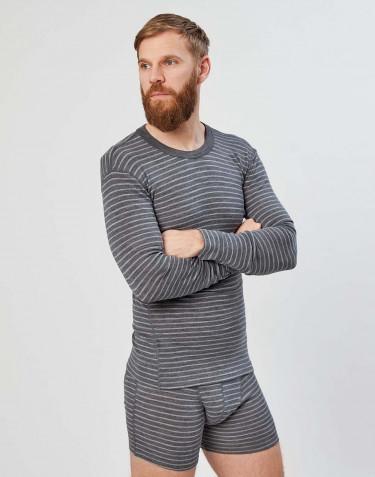 Pitkähihainen paita merinovillaa harmaaraidallinen