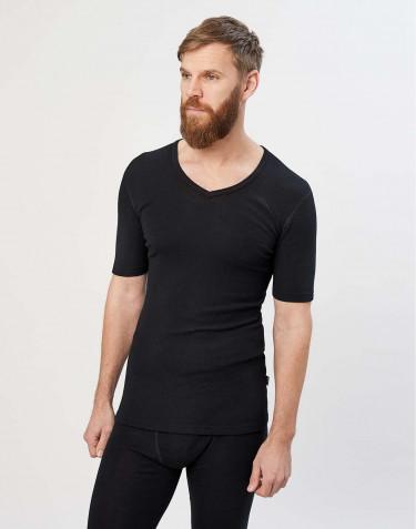 T-paita V-kaula-aukko merinovillaa musta