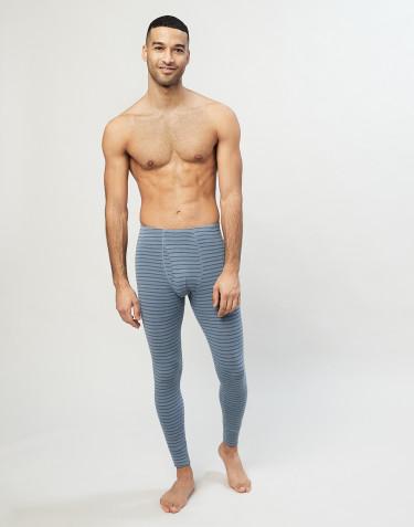 Miesten pitkät merinovilla-alushousut sepaluksella siniraidallinen
