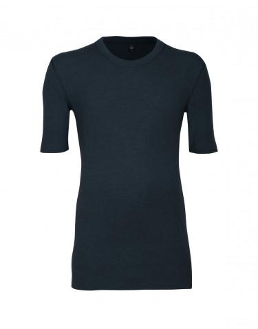 Miesten merinovillainen t-paita ribbineulosta yönsininen