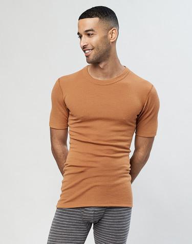Miesten merinovillainen t-paita ribbineulosta Toffee
