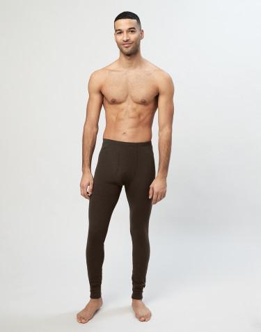 Miesten pitkät merinovilla-alushousut sepaluksella Tummanruskea