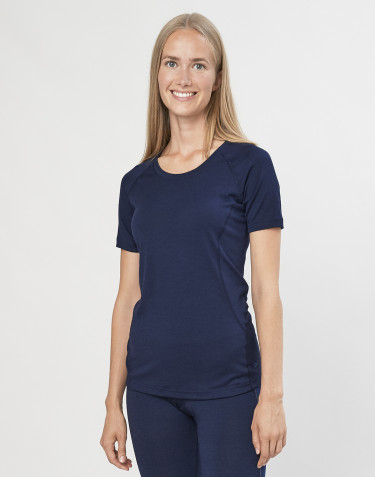 Naisten T-paita - ekologista ja huippulaatuista merinovillaa mariininsininen