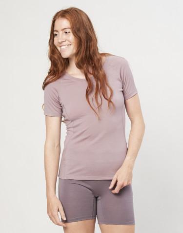 Naisten T-paita - ekologista ja huippulaatuista merinovillaa vanha roosa