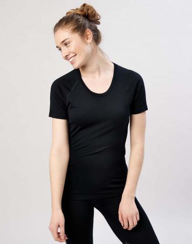 Naisten T-paita - ekologista ja huippulaatuista merinovillaa musta