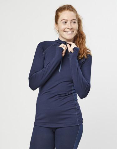 Naisten paita vetoketjulla - ekologista, huippulaatuista merinovillaa mariininsininen