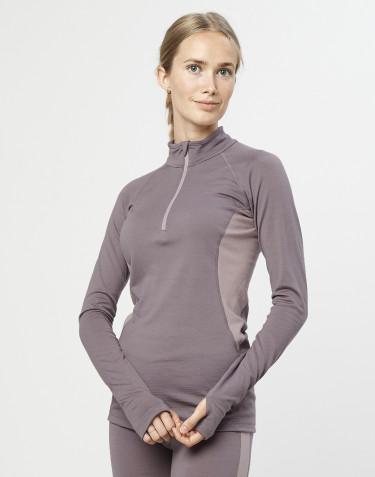 Naisten paita vetoketjulla - ekologista, huippulaatuista merinovillaa laventelinharmaa