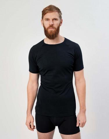 Miesten t-paita - ekologista, huippulaatuista merinovillaa musta