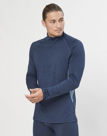 Pitkähihainen paita 1/3-vetoketjulla - ekologista, huippulaatuista merinovillaa siniharmaa