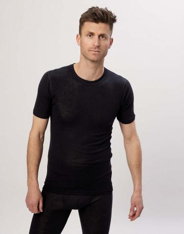 Miesten t-paita merinovilla-silkkiä musta