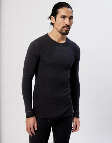Miesten pitkähihainen paita merinovilla-silkkiä musta