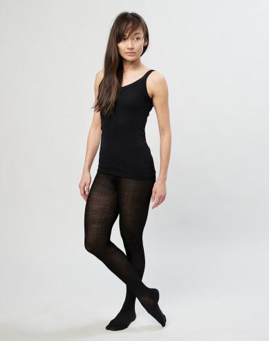 Naisten sukkahousut ribbineulottua merinovillaa musta
