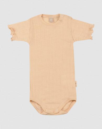 Vauvan lyhythihainen pointelle-body merinovillasilkkiä