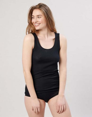 Naisten villa-aluspaita ribbineulosta musta